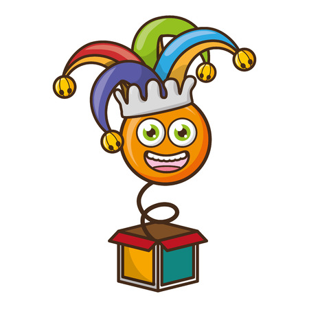 smiley emoji in the box april fools day vector illustration
