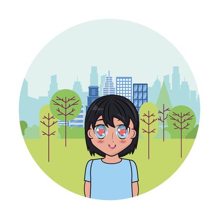 cute boy anime park city background vector illustration Vektoros illusztráció