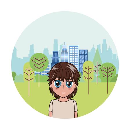 cute boy anime park city background vector illustration