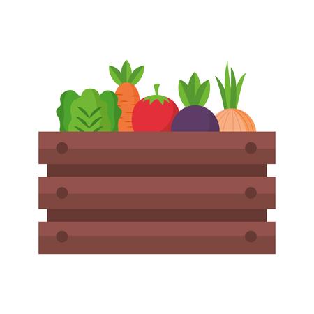 basket with vegetable farm fresh vector illustration Illustration