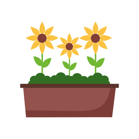 potted flowers nature on white background vector illustration 向量圖像