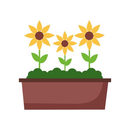 potted flowers nature on white background vector illustration Illusztráció