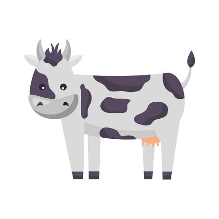 Animal de ferme vache sur fond blanc vector illustration
