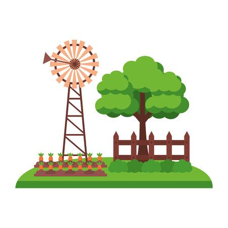 windmill tree fence farm fresh vector illustration Illustration