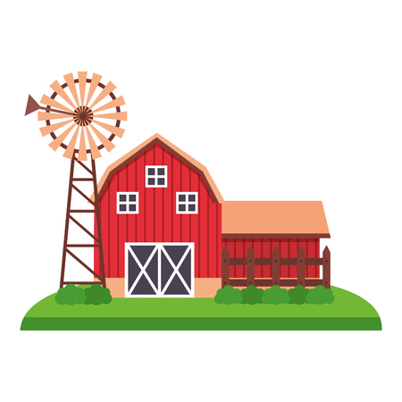 barn and mill farm fresh vector illustration