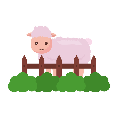 sheep fence grass farm animal vector illustration