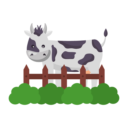 cow fence grass farm animal vector illustration