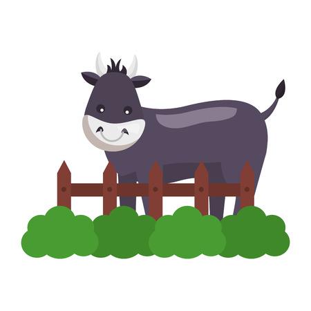 Bull clôture herbe animal de ferme illustration vectorielle