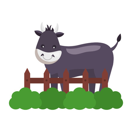 bull fence grass farm animal vector illustration
