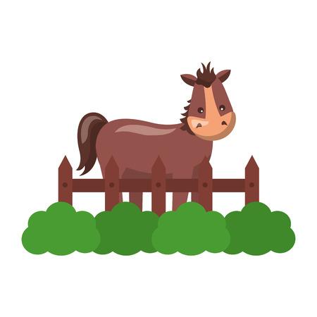 horse fence grass farm animal vector illustration Ilustração