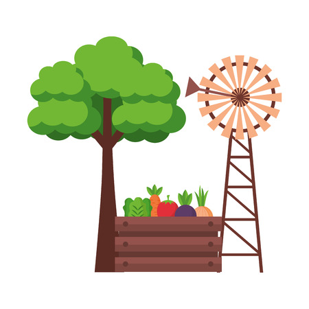 windmill vegetables and tree farm fresh vector illustration Illustration