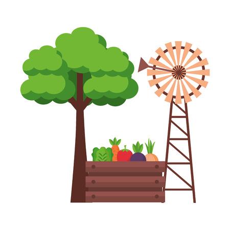 windmill vegetables and tree farm fresh vector illustration Ilustrace