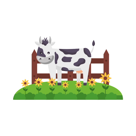 cow flowers fence grass farm animal vector illustration