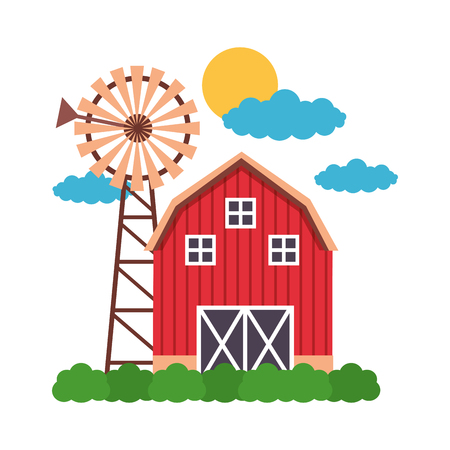 barn windmill sky farm fresh vector illustration 일러스트