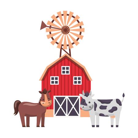barn mill horse and cow farm fresh vector illustration Ilustração