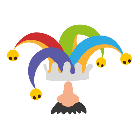 jester hat and nose mustache april fools day vector illustration