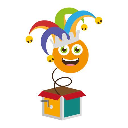 Smiley emoji en la caja ilustración de vector de día de los inocentes