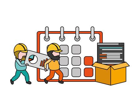 workers apps calendar storage mobile development vector illustration