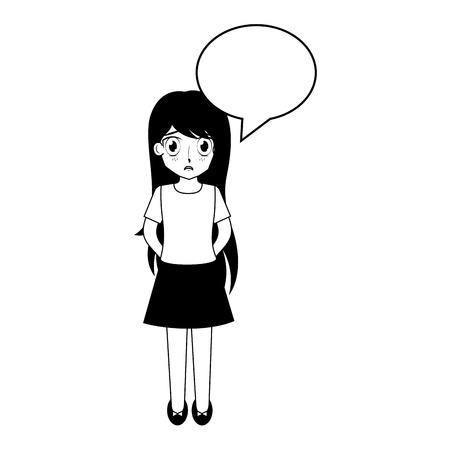 cute boy speech bubble face anime vector illustration Illustration