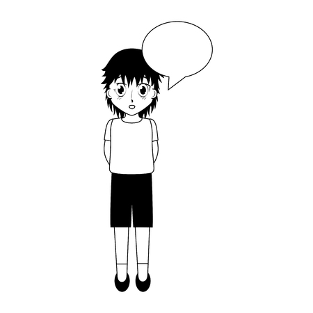 cute girl manga speech bubble face anime vector illustration
