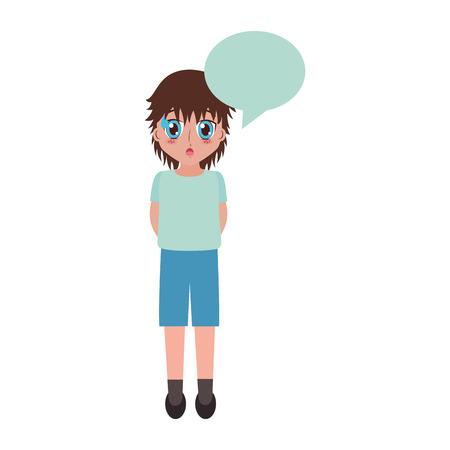 cute girl manga speech bubble face anime vector illustration