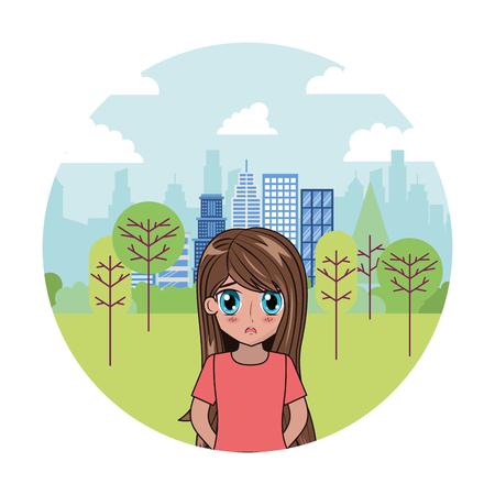 anime girl manga park city background vector illustration