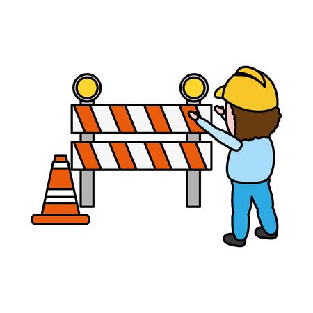 worker traffic barrier cone on white background vector illustration Çizim