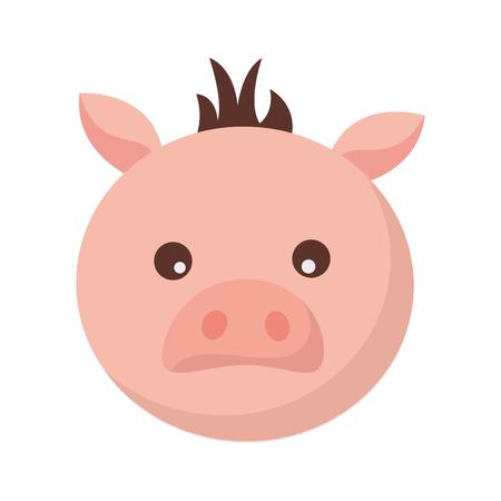 pig face animal on white background vector illustration Illustration