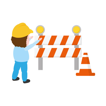worker traffic barrier cone on white background vector illustration Ilustrace