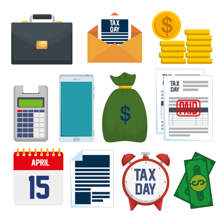 set service tax report with financial document vector illustration