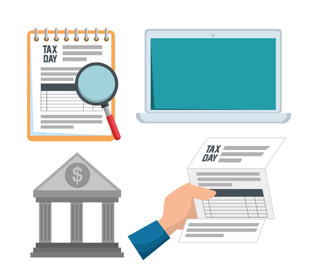 set service tax invoice with laptop report vector illustration Ilustração