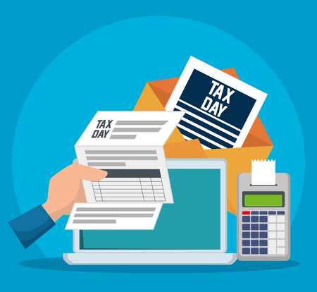service tax document with dataphone and laptop vector illustration