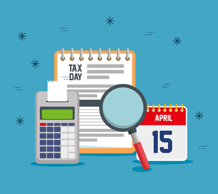 service tax report with dataphone and calendar vector illustration