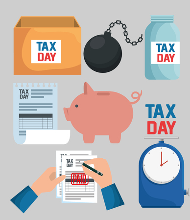 set business tax report with pig and clock vector illustration