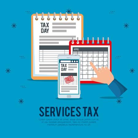 finance service tax with smartphone and calendar vector illustration Ilustração
