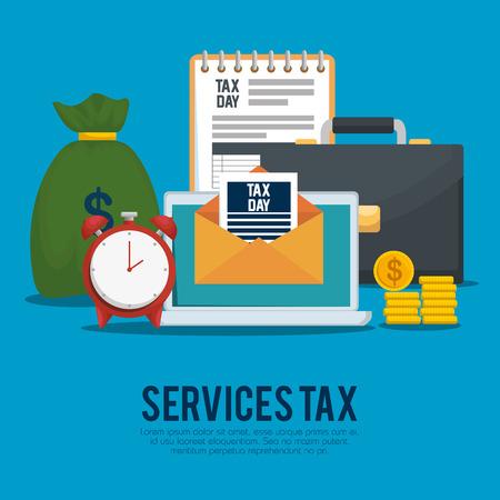 Taxe sur le financement des services avec mallette et pièces de monnaie vector illustration Vecteurs
