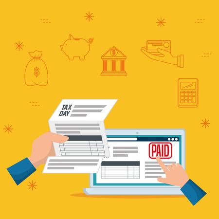 serviuce tax document report with laptop vector illustration Ilustração