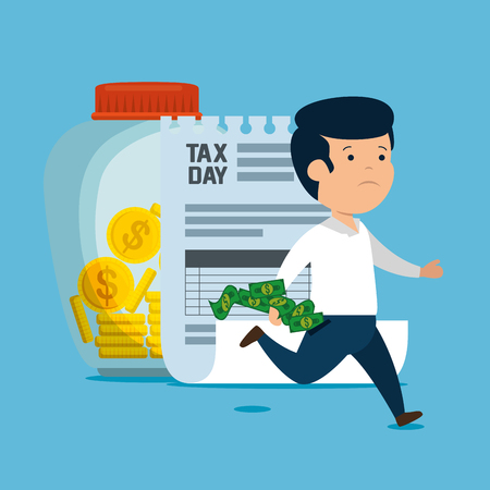 man with service tax finance and coins vector illustration Çizim