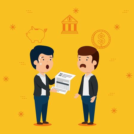 men with finance service tax report vector illustration Ilustração