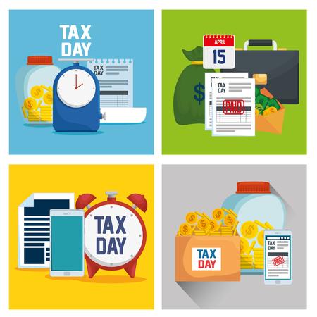 set finance tax report with business document vector ilustration Ilustração