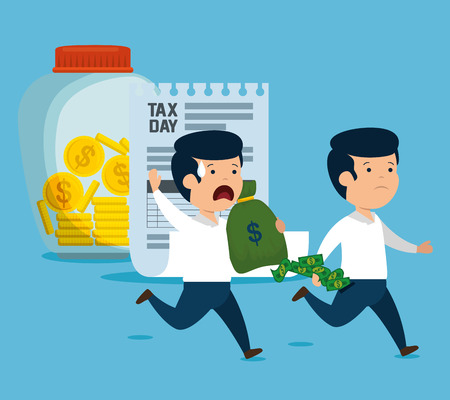 men with money currency and service tax vector illustration Çizim