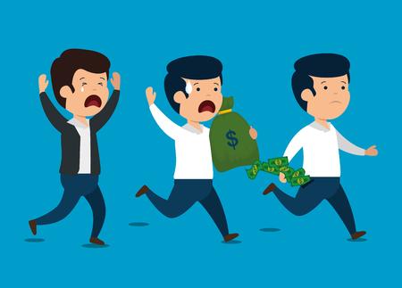 men with finance business report and money vector illustration Ilustração