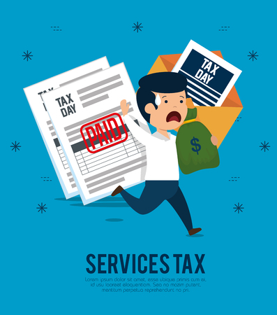 man with service tax documents and money vector illustration
