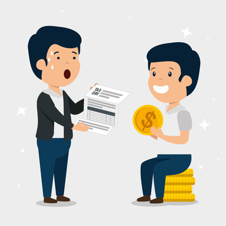 men with finance service tax and coins vector illustration
