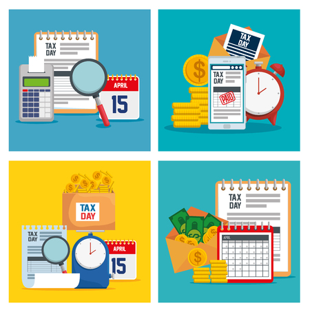 set business document with finance report vector illustration Ilustração