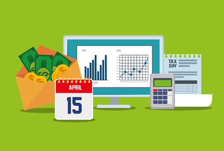 business statistics bar with dataphone and invoice vector illustration