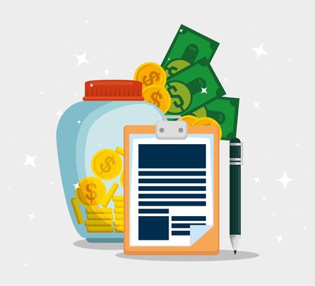 Documento de impuestos de servicio con monedas y billetes ilustración vectorial