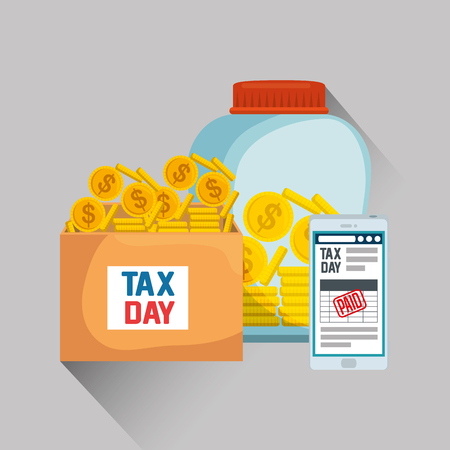 service tax with smartphone and coins currency vector illustration