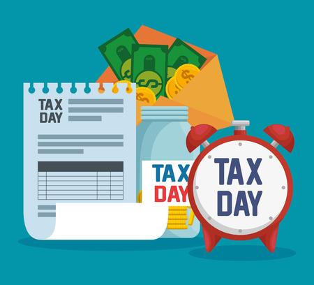 service tax report with coins and bills vector illustration Ilustração