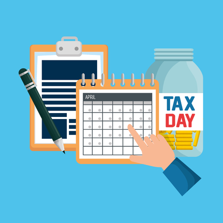business service tax document with calendar vector illustration